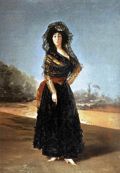 アルバ公爵夫人の肖像画。彼女が指差す地面には「SOLO GOYA (=Only Goya)」と書いてある。