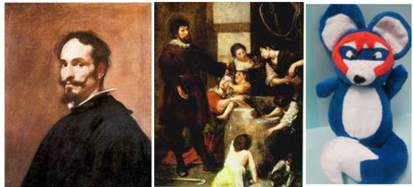"""(左から)アロンソ・カノ、絵画「聖イシドロと井戸の奇跡」、マドリード地下鉄マスコットの""""イシドロ"""""""